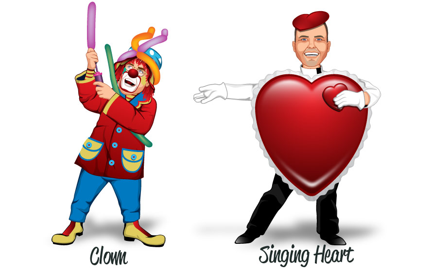 Popular costumes Clown and Singing Heart
